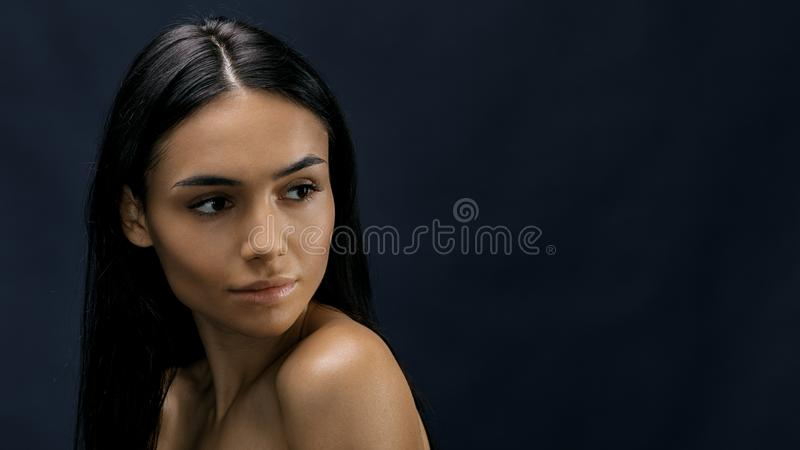 Close up portrait of a young attractive woman stock images