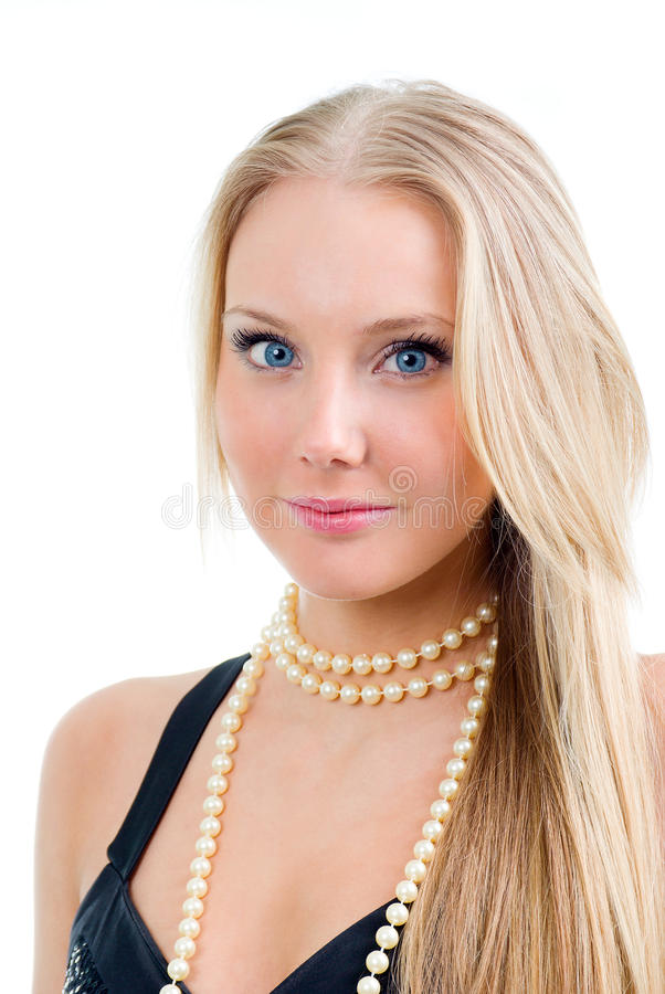 Close-up portrait young beautiful blond girl. stock photo