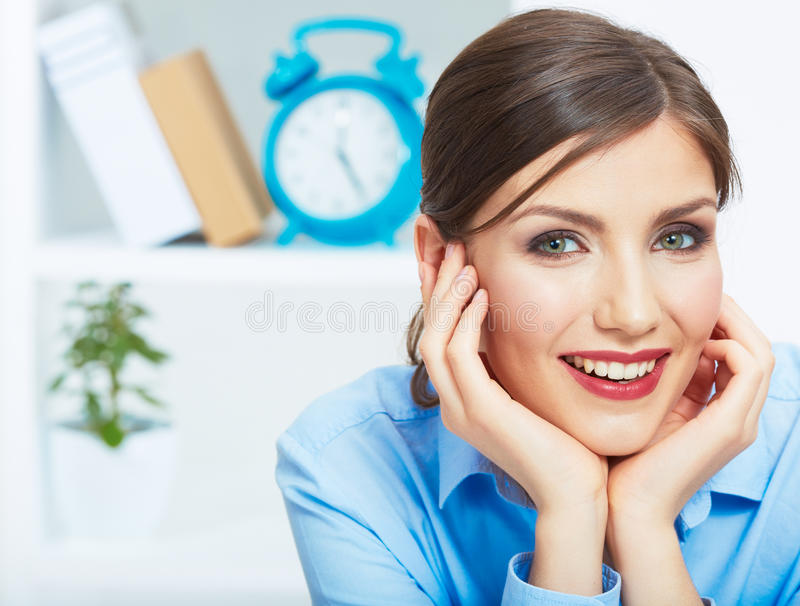 Close up portrait of young beautiful business woman in white of stock photos