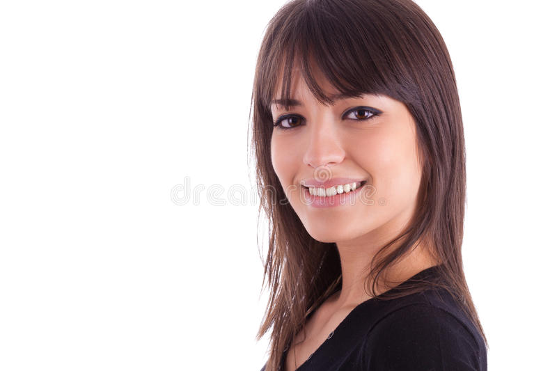 Close up portrait of young beautiful caucasian woman royalty free stock photography