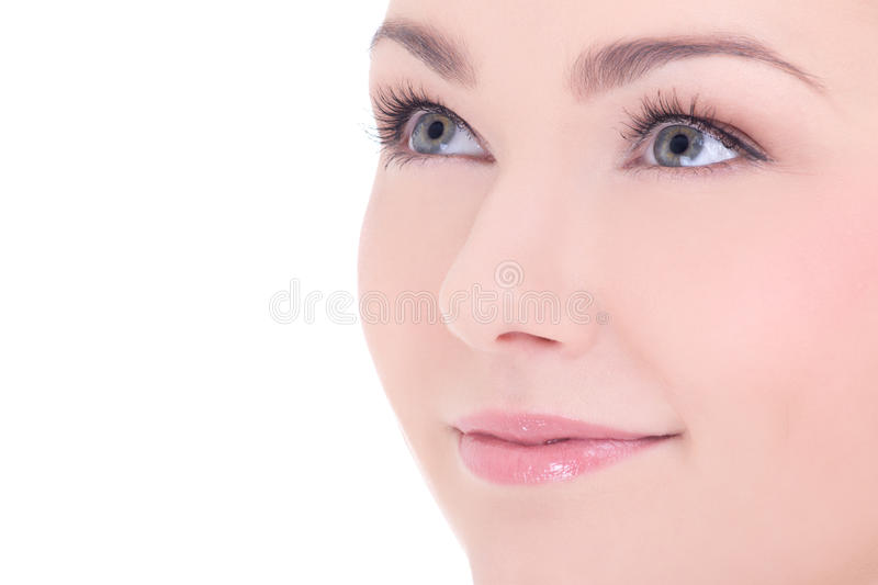 Close up portrait of young beautiful woman with long eyelashes i stock photography