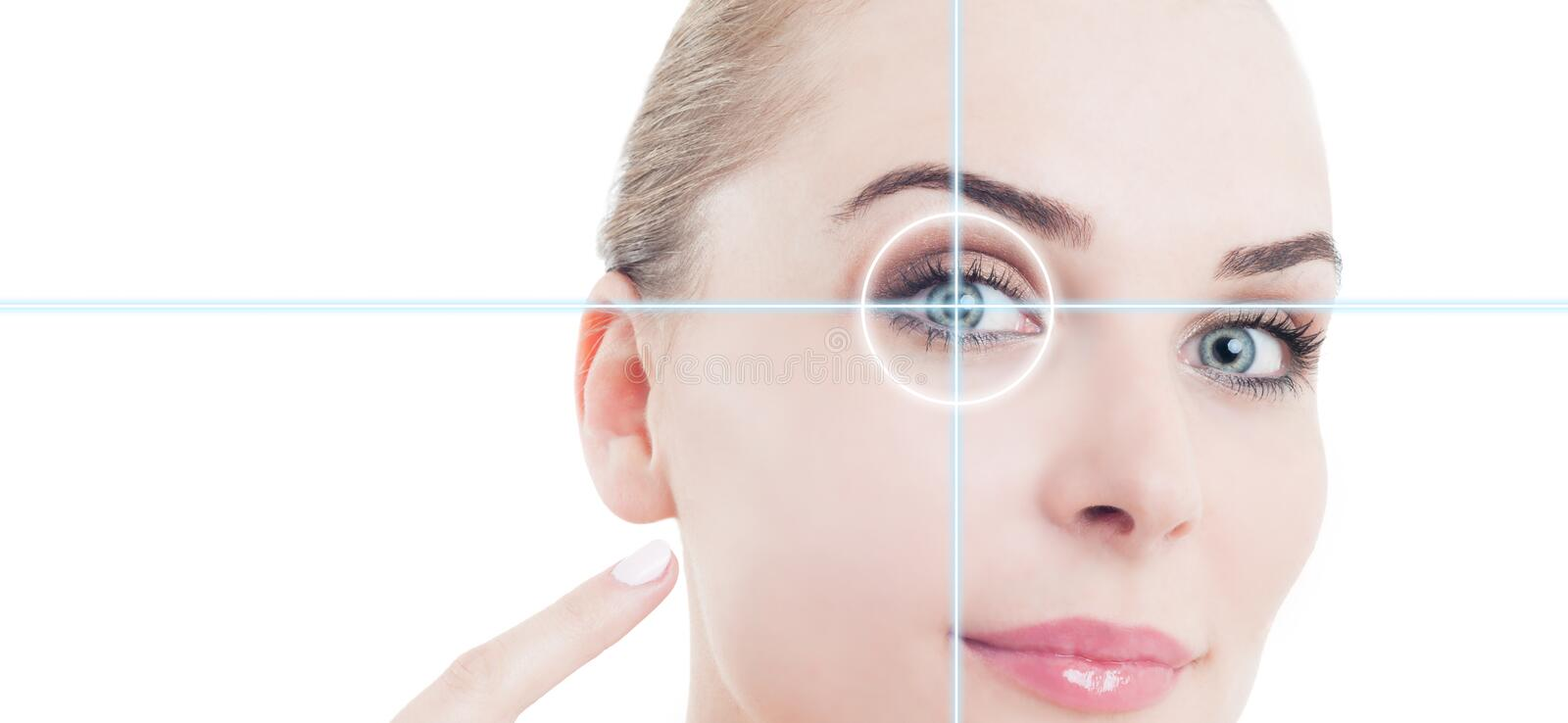Close-up portrait of young and beautiful woman pointing to eye stock image