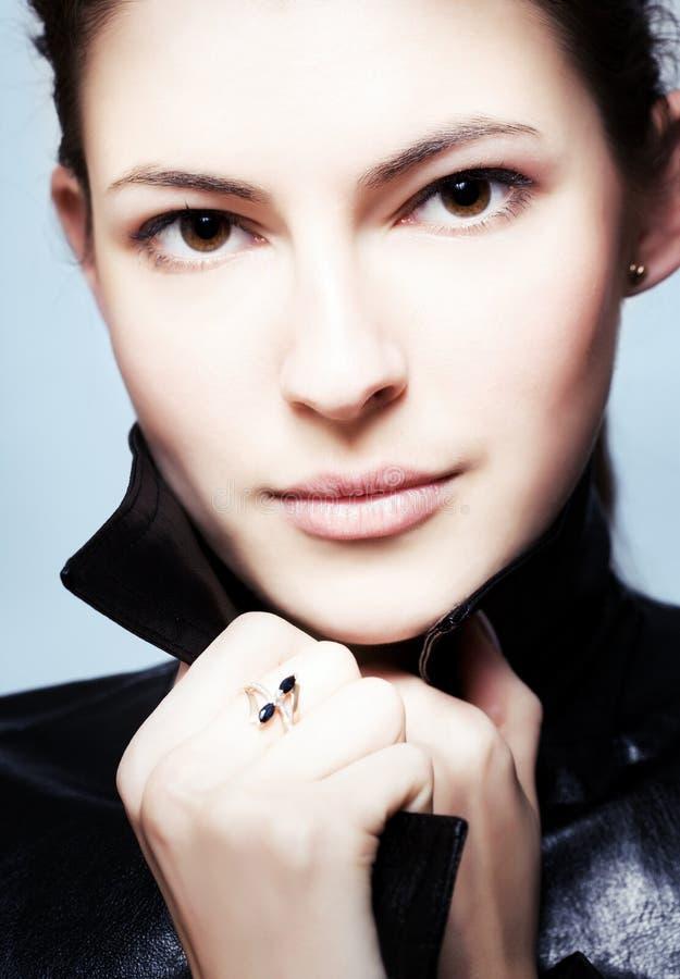 Close-up portrait of young brunette stock photos