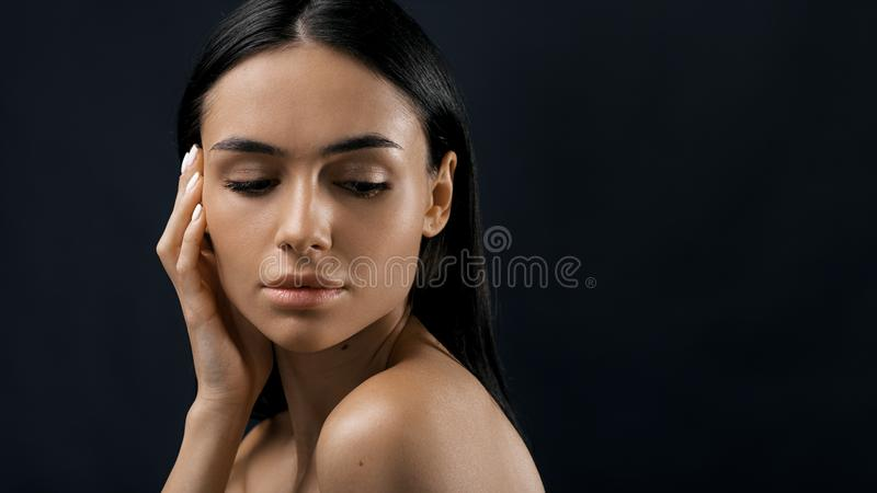 Close up portrait of a young fashion model royalty free stock photos
