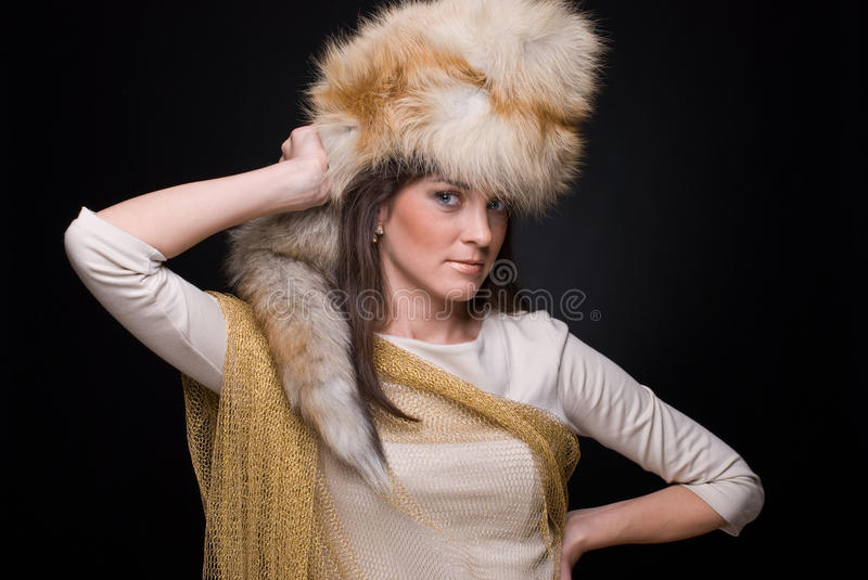 Download Close Up Portrait Of Young Fashion Woman In Fur Stock Photo - Image: 13385732