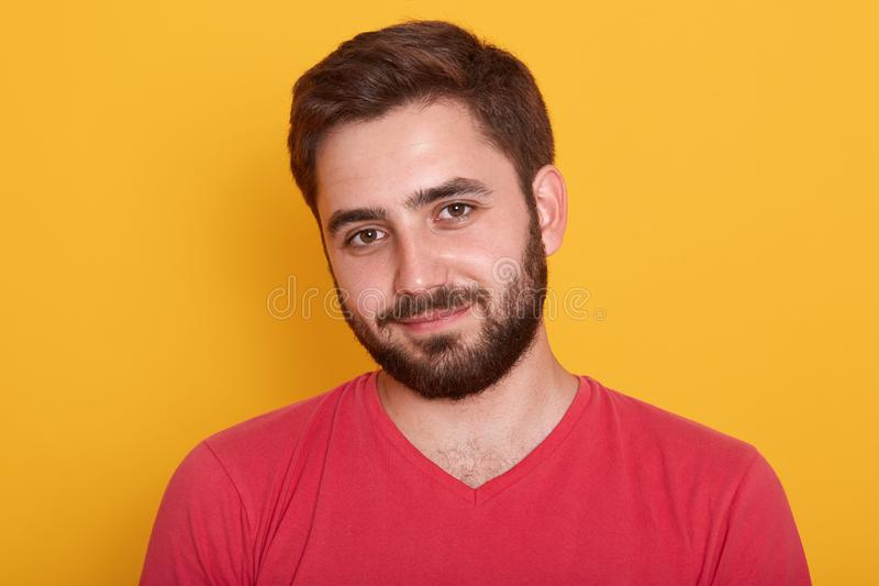 Close up portrait of young handsome man with beard wearing red casual t shirt posing isolated over yellow background, attractive stock photo