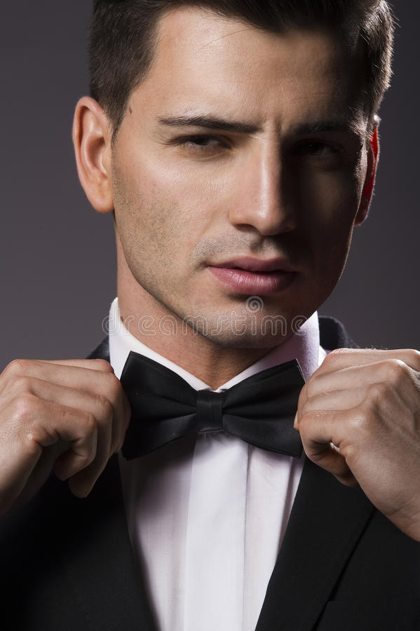 Close-up portrait of a young handsome man stock photos