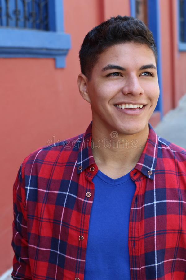 Close up portrait of a young hispanic male stock photos