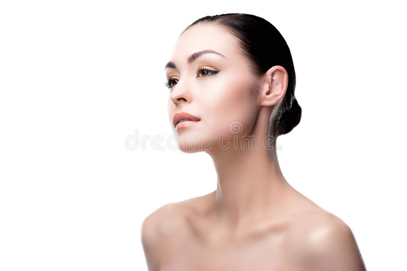 Close up portrait of young lady with beautiful makeup stock images