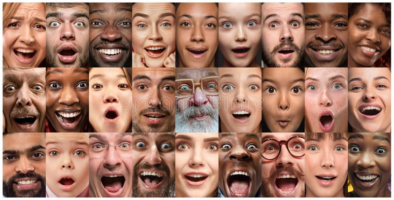 Close up portrait of young people full of expression royalty free stock image