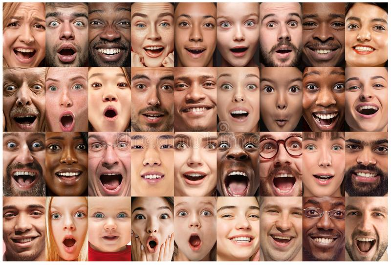 Close up portrait of young people full of expression stock image