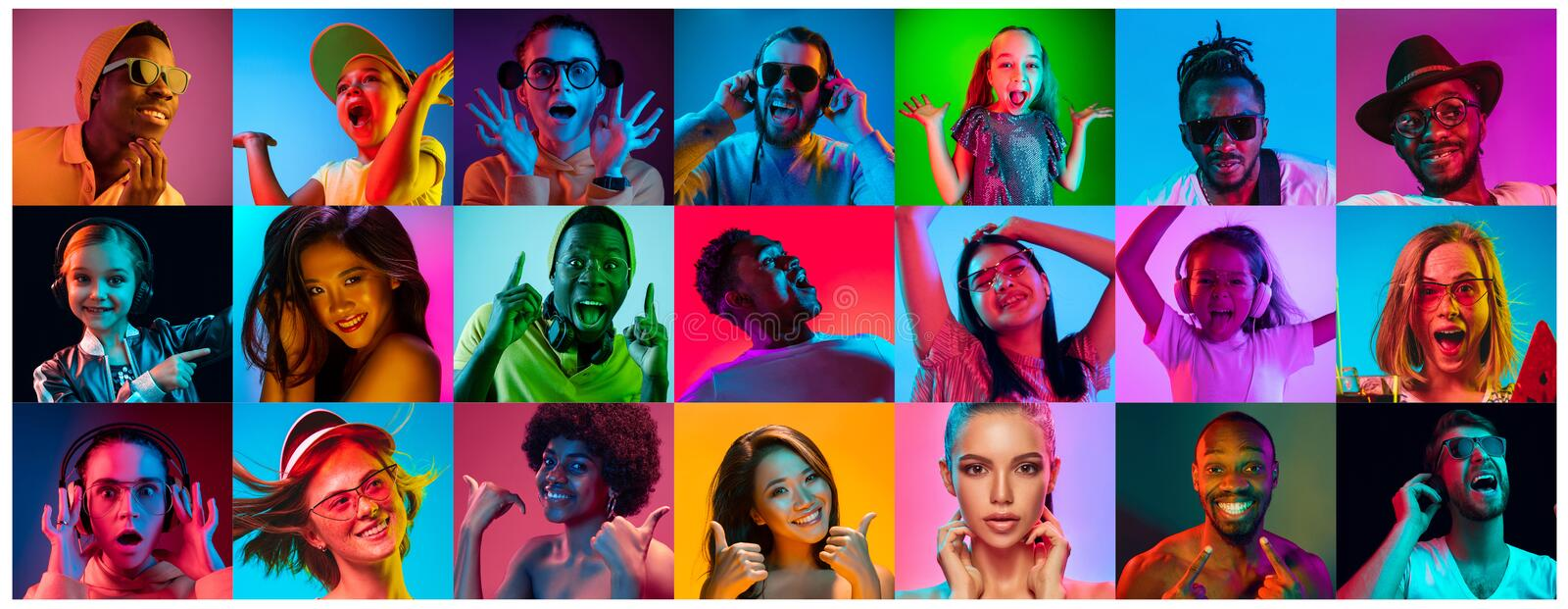 Close up portrait of young people full of expression stock images