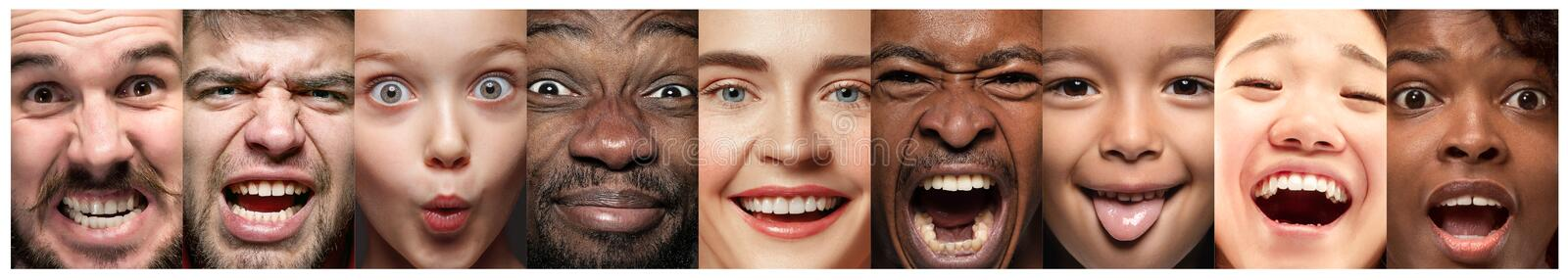 Close up portrait of young people full of expression stock photos