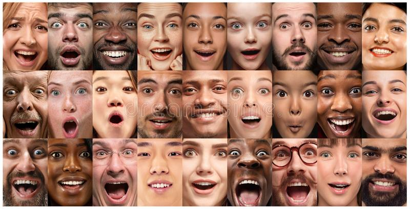 Close up portrait of young people full of expression stock photo