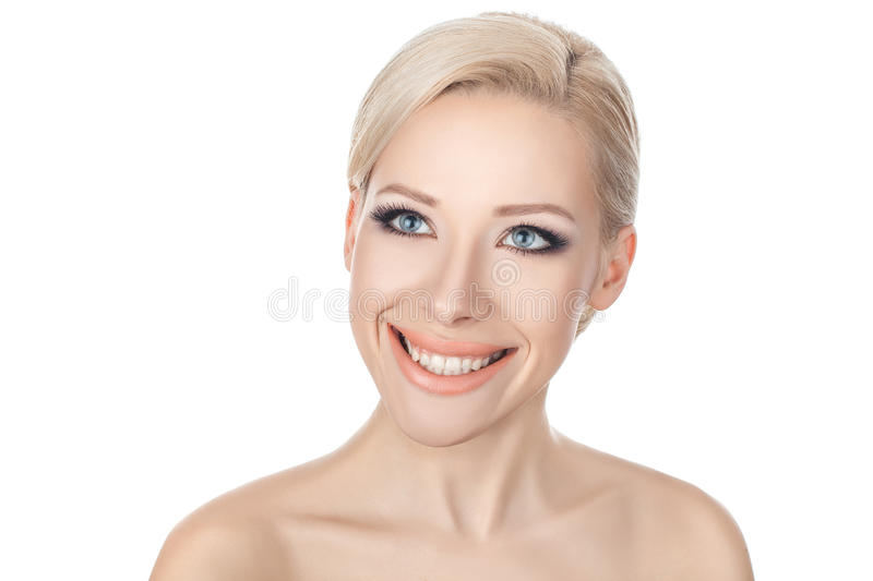 Close-up portraits of the smiling blonde. stock image