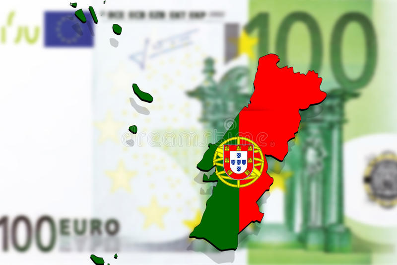Close up on Portugal map on Euro money backgound royalty free stock images