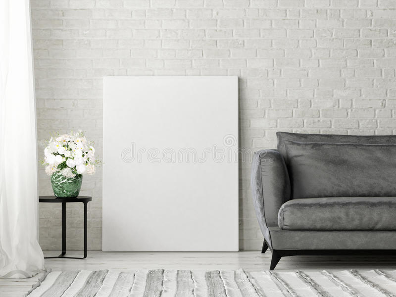 Close up poster, and black sofa. 3d illustration stock illustration