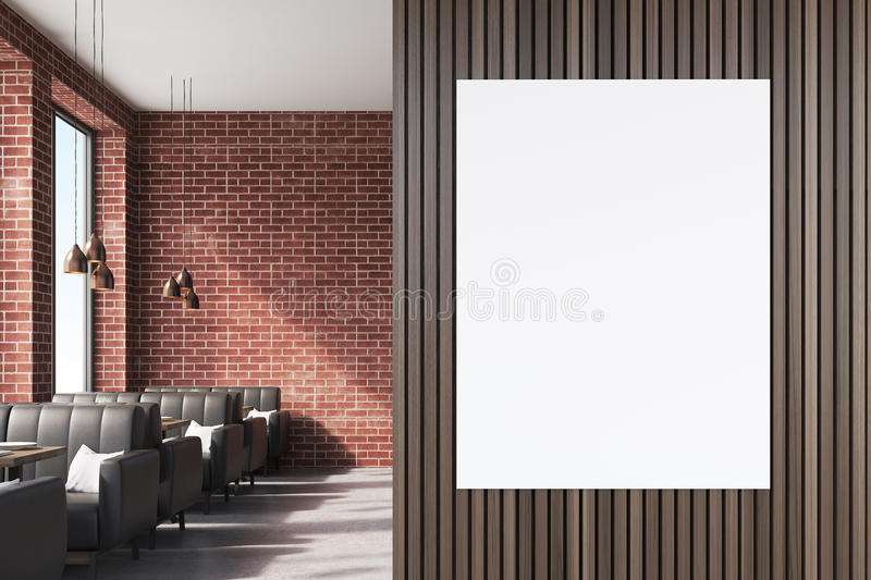 Download Close Up Of A Poster On Brown Cafe Wall Stock Illustration - Image: 83722722