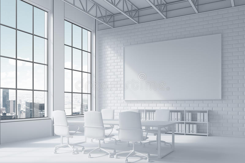 Close up of poster and conference room table and city view. Close up of poster hanging above conference room table surrounded by white chairs. City view. 3d stock illustration