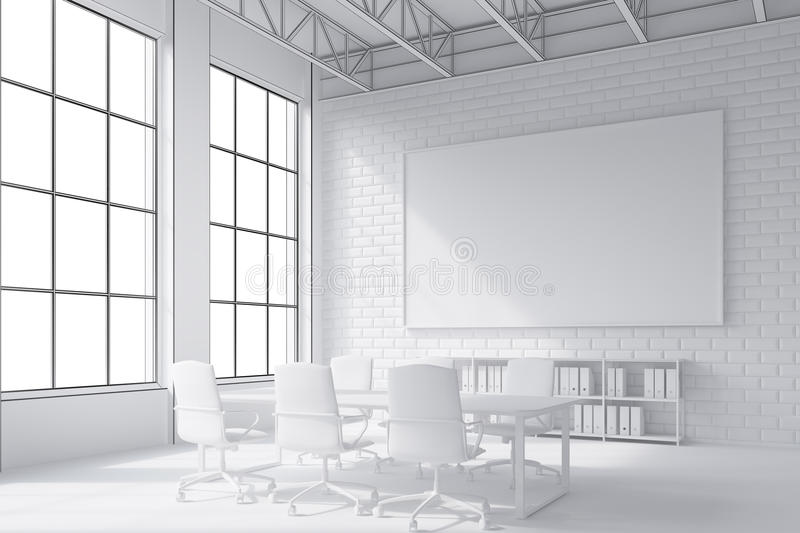 Close up of poster and conference room table. Close up of poster hanging above conference room table surrounded by white chairs. 3d rendering. Mock up royalty free illustration