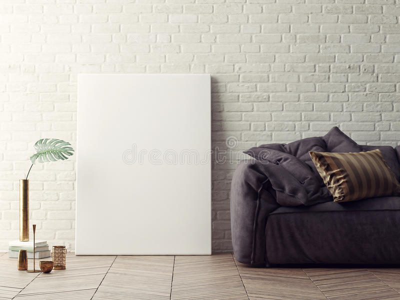 Close up poster with vintage sofa, white brick background, vector illustration