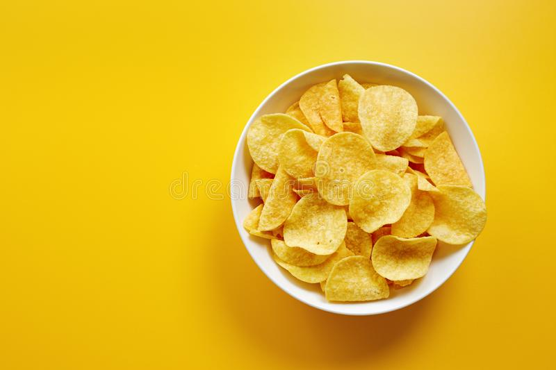 Close-Up Of Potato Chips or Crisps In Bowl royalty free stock photography