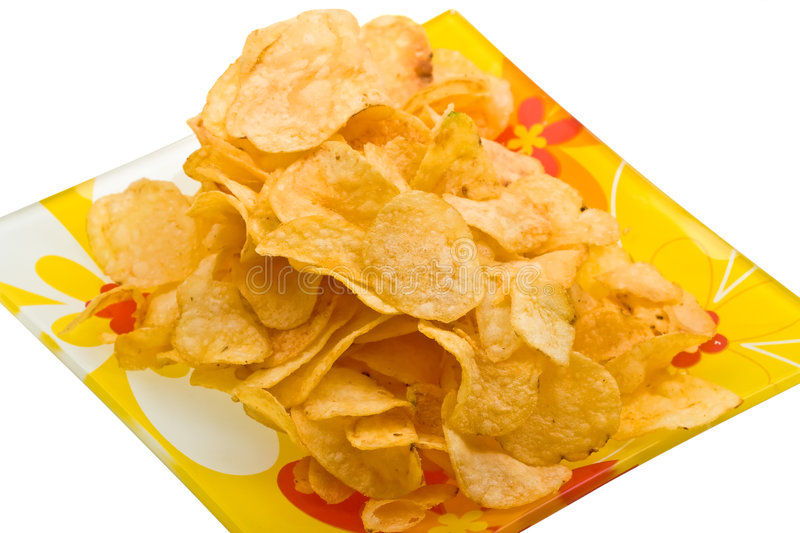 Close-up Potato Chips On Plate Isolated On White Royalty Free Stock Images
