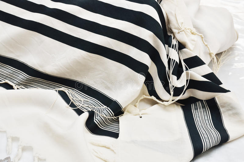 Close up of Prayer Shawl - Tallit stock photos