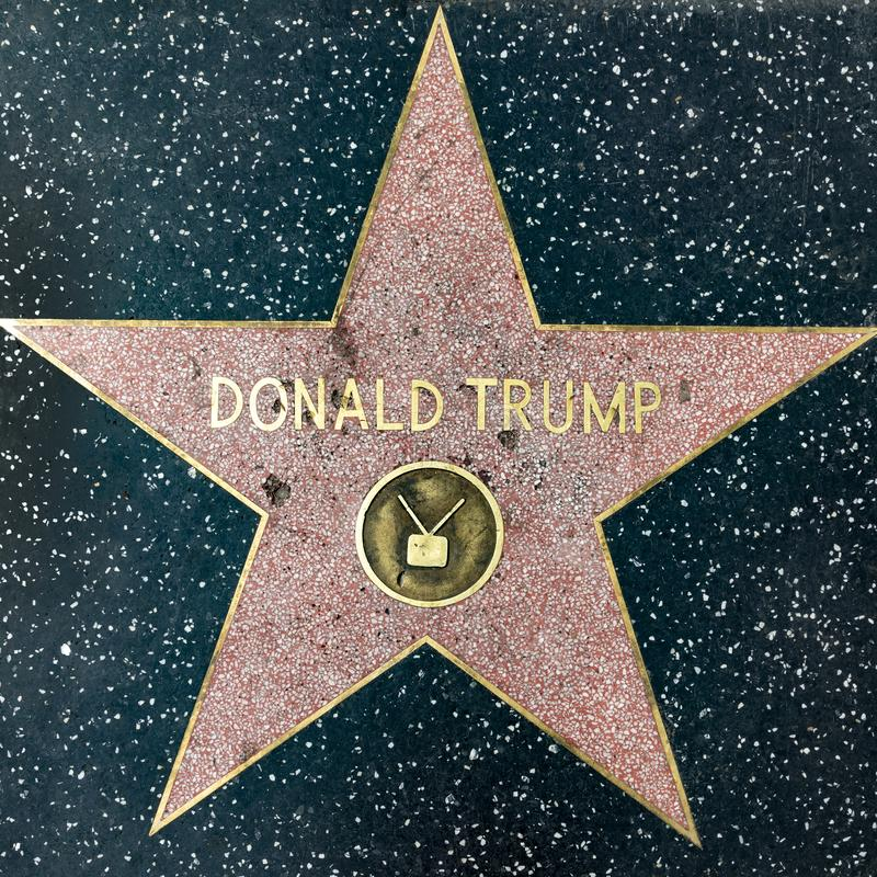 Close up of President Donald Trump`s recently repaired star on the Hollywood Walk of Fame on Hollywood Boulevard, which has been. Los Angeles, USA - March 5 royalty free stock photography