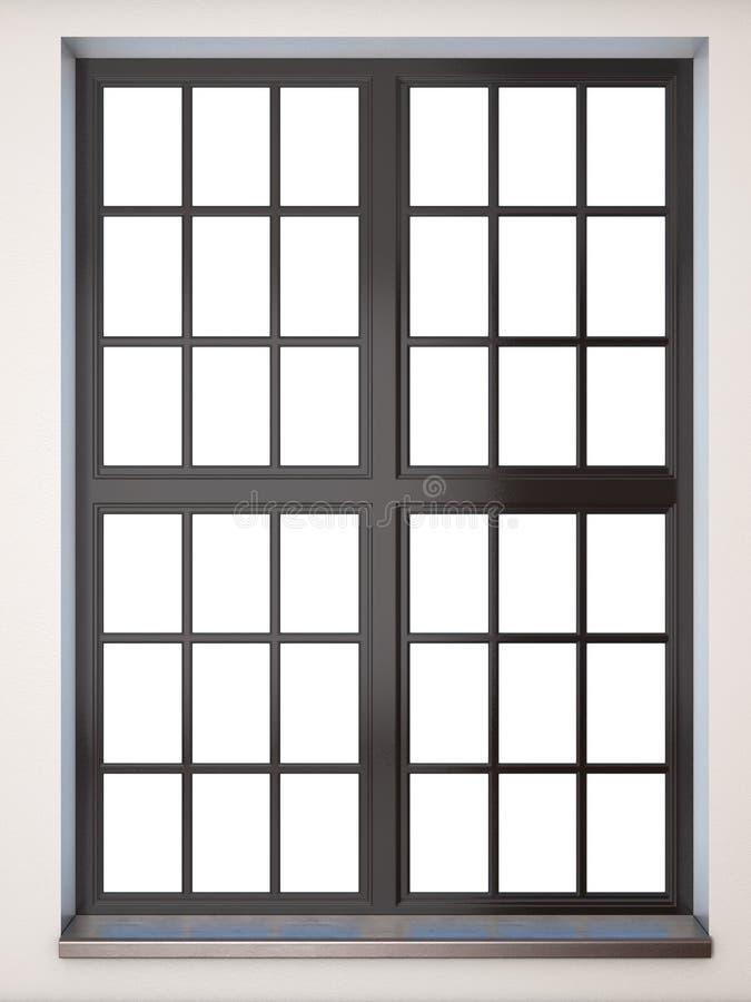 Close up preto da janela Front View rendição 3d ilustração do vetor