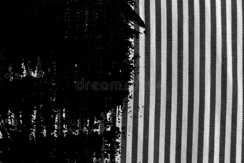 Close up preto e branco sujo do Grunge da textura descascada da tela fotografia de stock royalty free