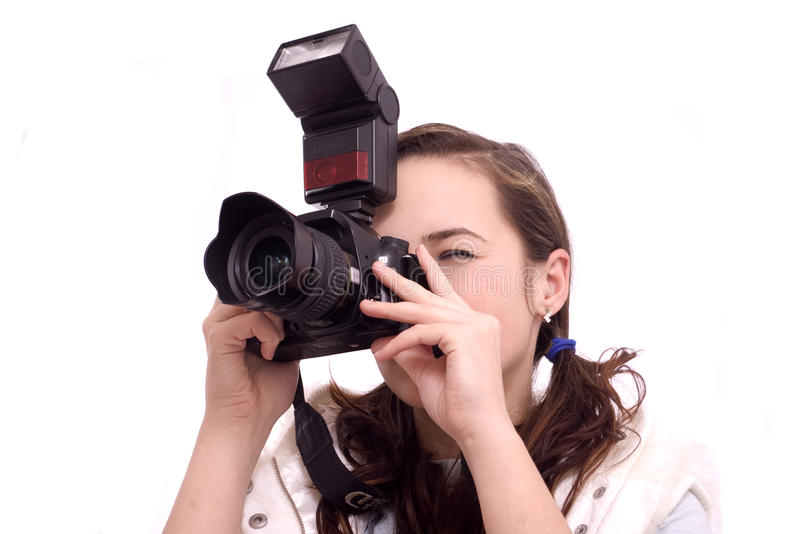 Close up of a pretty girl photographing royalty free stock images