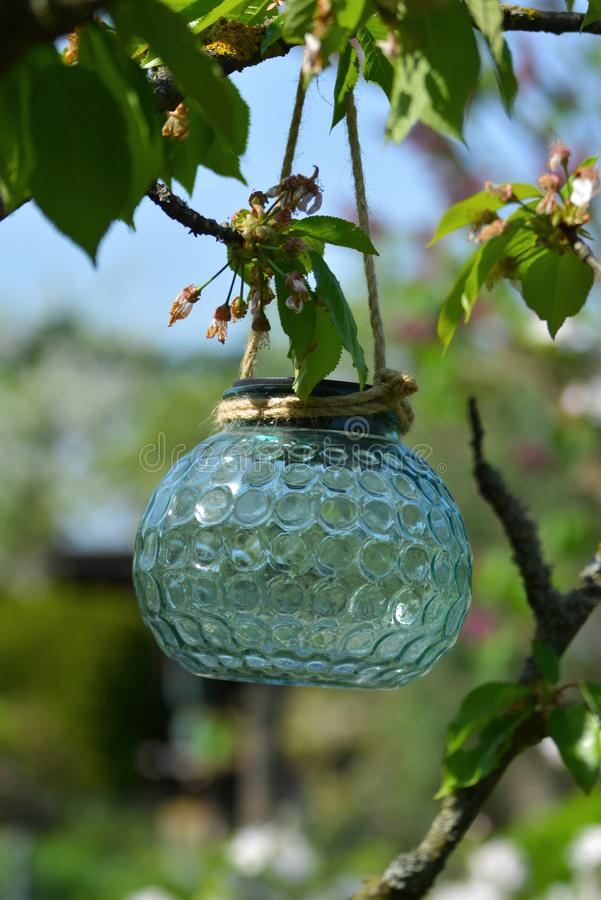Close up of pretty light teal glass solar lampion lamp hangin on a brach in a tree royalty free stock photo