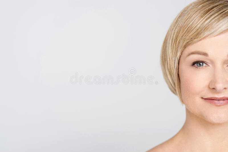 Close up of pretty mid woman. royalty free stock image