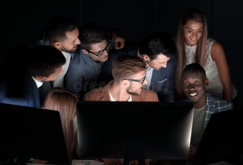 Close up.a professional business team is conducting a brainstorming stock image