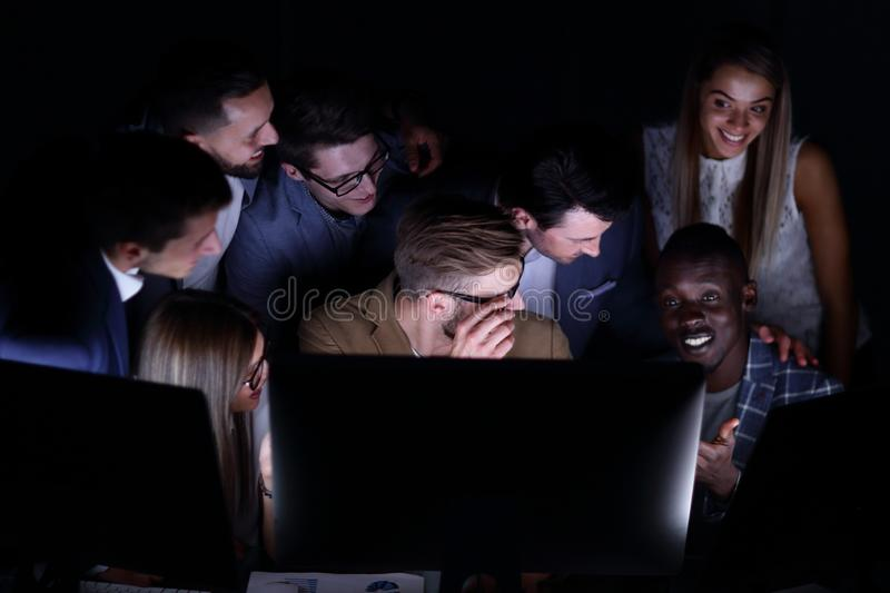 Close up.a professional business team is conducting a brainstorming royalty free stock photography