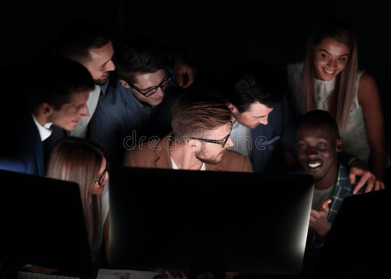 Close up.a professional business team is conducting a brainstorming royalty free stock image