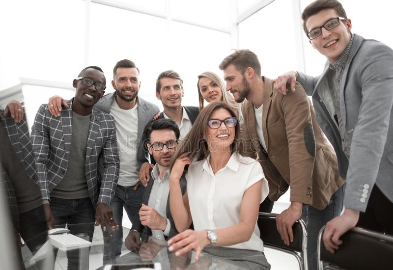 Close up.professional business team in a modern office stock photography