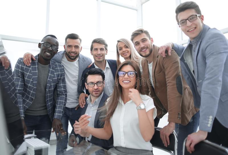Close up.professional business team in a modern office stock image