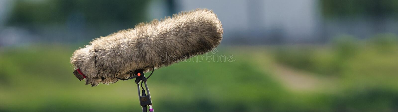 Close-up of a professional microphone for audio recording with a cover to reduce wind noise, intentionally blurred background, stock image