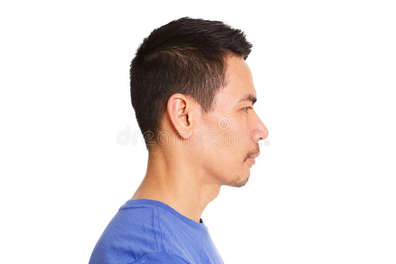 Profile of older asian man stock photos