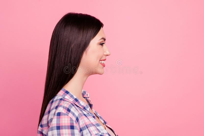Close-up profile side view portrait of her she nice attractive cute charming lovely lovable winsome well-groomed. Adorable cheerful straight-haired lady royalty free stock photo