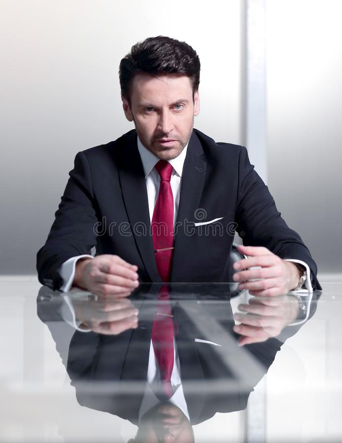 Close up.project Manager sitting at his Desk royalty free stock photo
