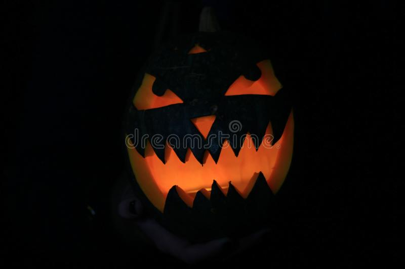 Close up.pumpkin for Halloween in the hands of the guy stock photo