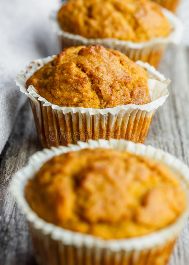 Close up of Pumpkin muffins stock photography