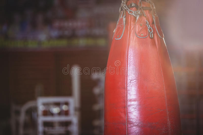 Close-up of punching bag hanging stock photography