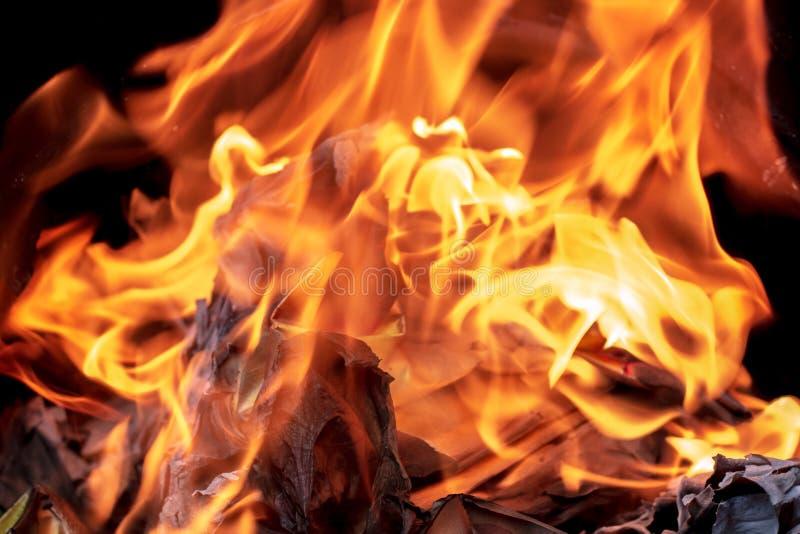 Close up que queima o papel de Joss ou a cédula de inferno para antepassados fotografia de stock