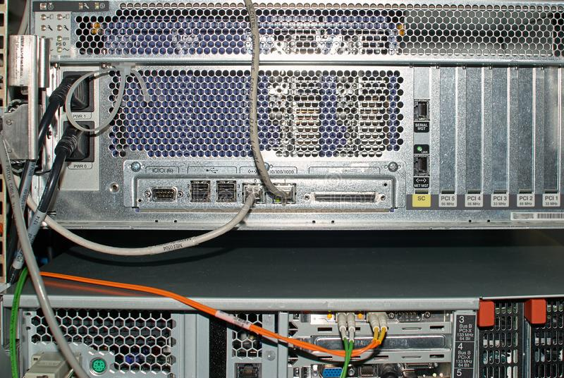 Close-up Of Rack Mounted Server In A Server Room.  royalty free stock photo