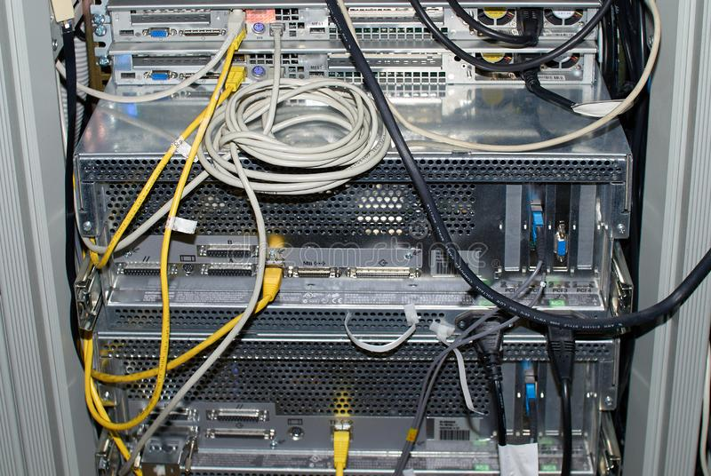 Close-up Of Rack Mounted Servers In A Server Room.  royalty free stock photo