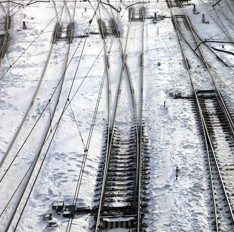 Close up of the railroad tracks. Winter royalty free stock images
